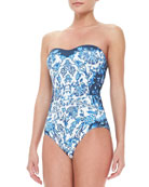 Floral-Print Bandeau One-Piece Swimsuit