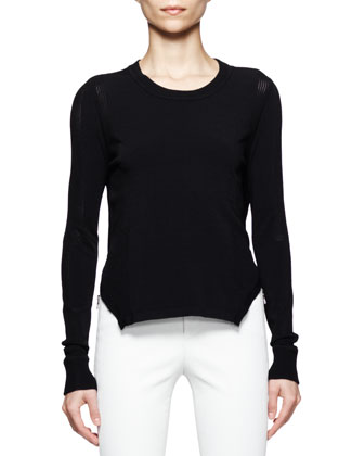 Ellen Arch-Hem Sweater & Beryl Skinny Leather Pants