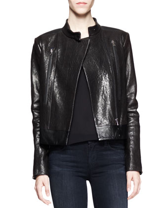 Robyn Crackled Leather Jacket, Lucy Sheer-Back Camisole & Mid-Rise ...