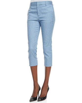 Hay Denim Voile Short-Sleeve Blouse & Davis Ankle-Cropped Trouser Pants