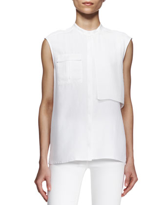 Giles Sleeveless Flap-Panel Blouse