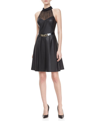 Leather Halter Dress with Belt, Black