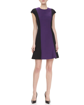 Cap Sleeve Flared Hem Dress, Violet/Black