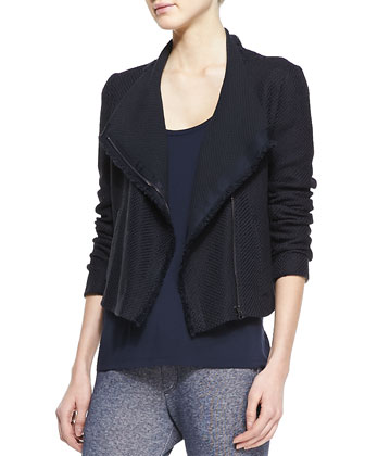 Fringe-Trim Scuba Jacket, Draped Scoop-Neck Tank & Ribbed-Cuff Sweater Pants