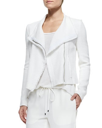 Frayed-Trim Textured Jacket, Trimmed Scoop-Neck Tee & Georgette ...