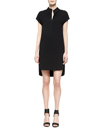 Half-Placket High-Low Dress