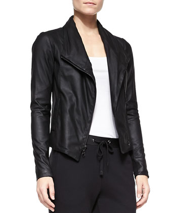 Scuba-Style Leather Jacket, Ribbed Favorite Tank & Leather-Trim Drawstring ...