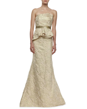 Strapless Brocade Peplum Gown