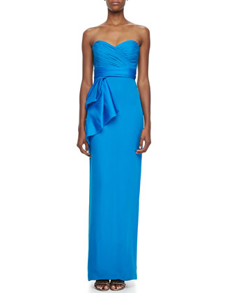 Strapless Bow-Waist Column Gown