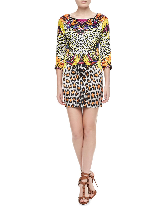 Womens Mixed Leopard Print Silk Dress   Just Cavalli   White (42/6)