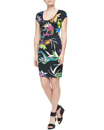 Floral-Print Cap-Sleeve Jersey Dress