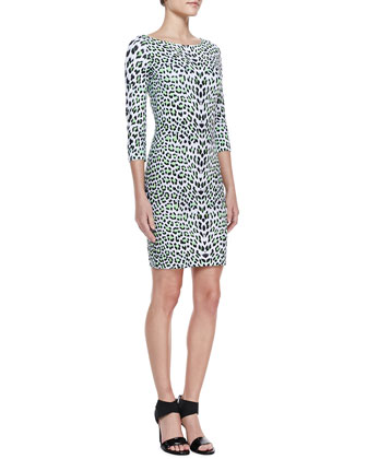 3/4-Sleeve Leopard Boat-Neck Dress, Green/Multi