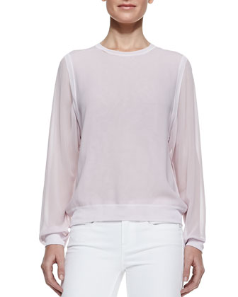 Silk/Rayon Sheer-Sleeve Sweatshirt