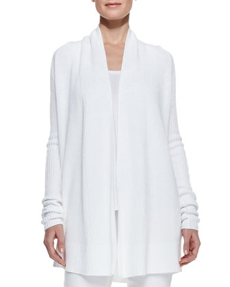 Suspension Ribbed Draped Open Cardigan, White