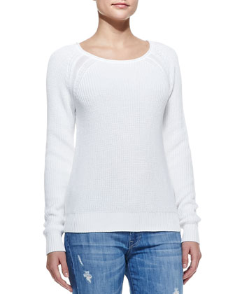 Raglan-Sleeve Knit Sweater, White
