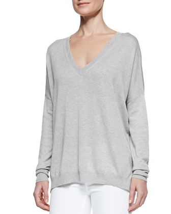 Silk/Cashmere V-Neck Sweater & Dylan Slim Ankle Jeans