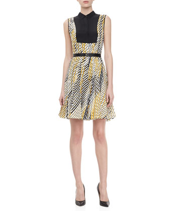 Print Faux Shirt Dress with Belt, Ivory/Gold