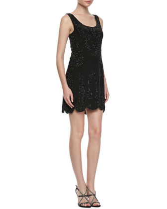 Beaded Sleeveless Scalloped-Hem Dress