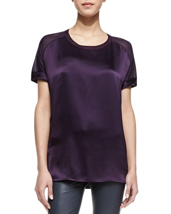 Silk/Jersey Short-Sleeve Tee & Riley Skinny Leather Pants