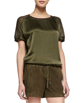 Satin/Jersey Loose Top