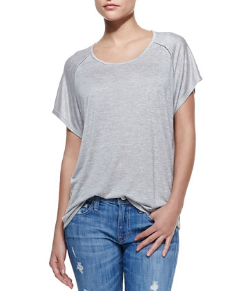 Stitch-Trim Jersey Tee, Heather Silver