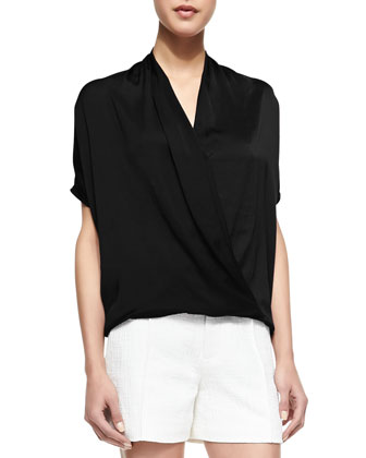 Short-Sleeve Wrap Blouse