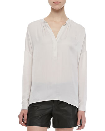 Long-Sleeve Popover Blouse