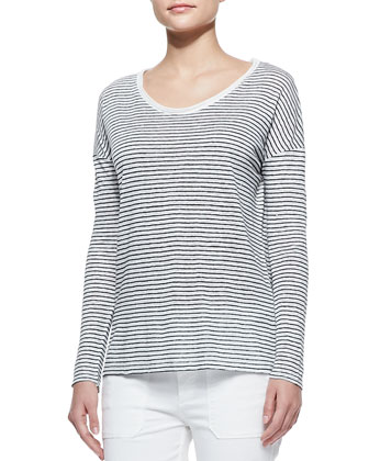 Long Sleeve Striped Tee, Magnolia