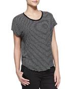 Striped Linen-Slub Top, Black