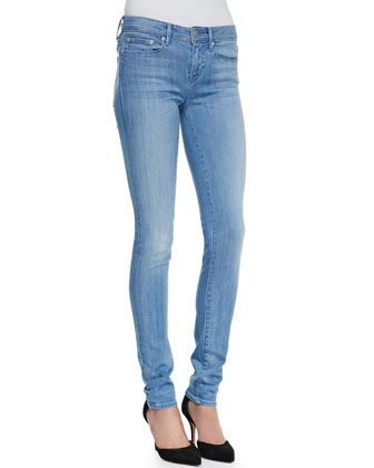 Sheer-Yoke Silk Tee & Riley Skinny Jeans
