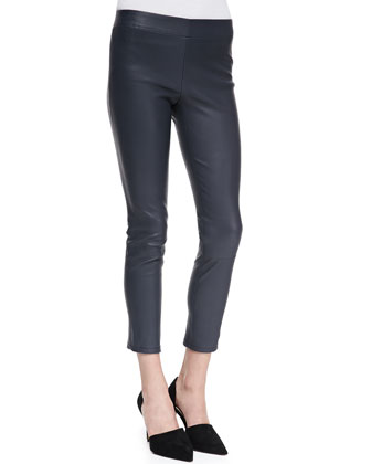 Cropped Skinny Leather Leggings, Coastal