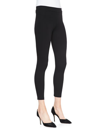 Cropped Jersey Leggings, Black