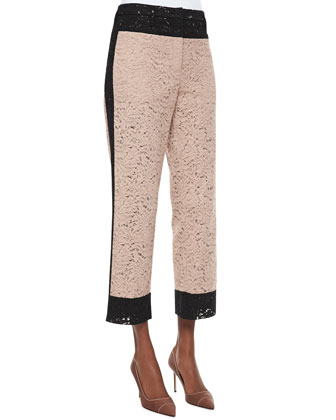 Cropped Straight-Leg Colorblock Lace Pants, Black/Taupe