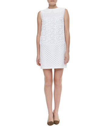 Sleeveless Mixed Lace Shift Dress, White