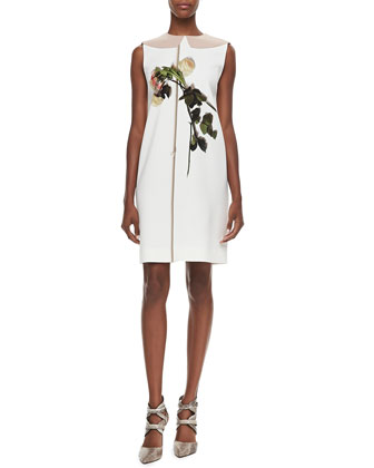 Printed Flower Sheath Dress, Ivory