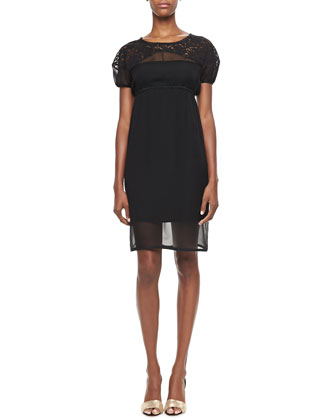 Lace-Yoked Empire-Waist Dress, Black