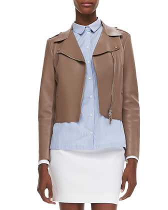 Napa Leather Motorcycle Jacket, Nude
