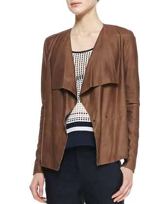 Draped Snap Leather Jacket