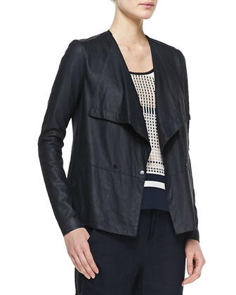 Lightweight Draped Leather Jacket