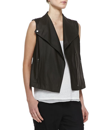 Lightweight Leather Zip Vest, Linen/Silk Layered Tank & Cropped Linen-Blend ...