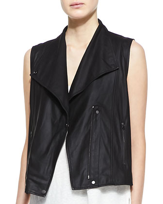 Paper Leather Zip Vest, Linen/Silk Layered Tank & Slim Cropped Cargo Pants ...