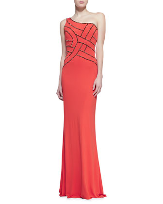 One-Shoulder Sequined Bodice Gown