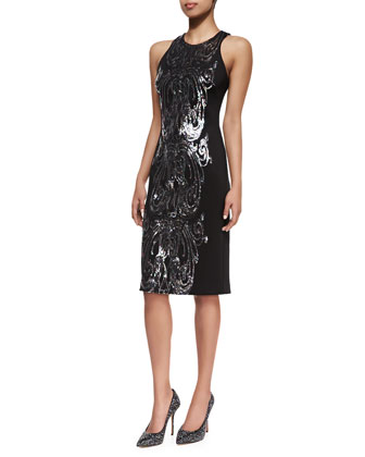 Sequined Panel Cocktail Dress