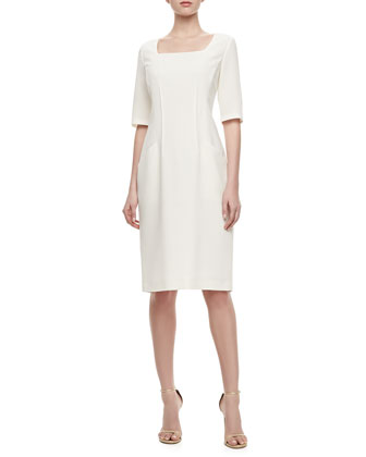Iveta Front-Pocket Wool Dress