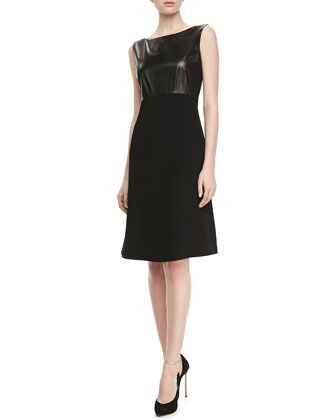 Carmine Leather-Bodice Dress