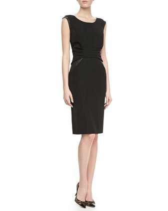 Lunaire Leather-Side Sheath Dress