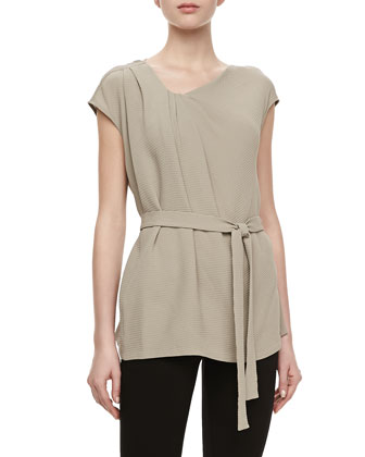Jeanie Top with Self-Tie Sash, Driftwood
