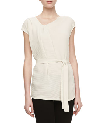 Jeanie Top with Self-Tie Sash, Raffia