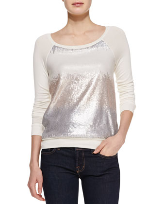 Sequin Raglan-Sleeve Sweatshirt