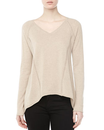 Cashmere High-Low Stitched Top